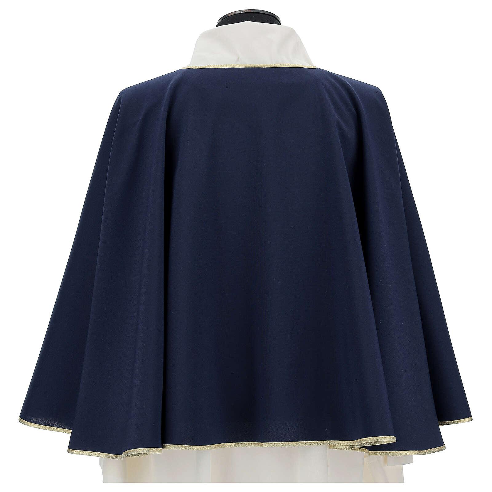 Mantella per confraternita 100% poliestere blu bordo oro 3