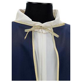 Mantella per confraternita 100% poliestere blu bordo oro s4
