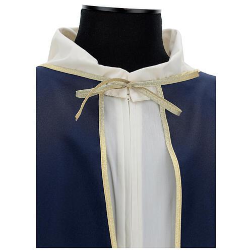 Mantella per confraternita 100% poliestere blu bordo oro 4