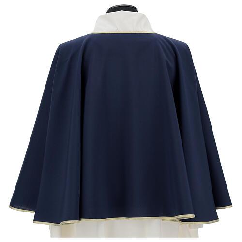 Mantella per confraternita 100% poliestere blu bordo oro 5