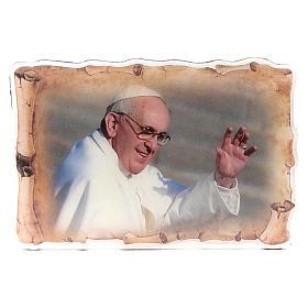 Calamita pergamena Papa Francesco saluto 8x5,5 cm s1