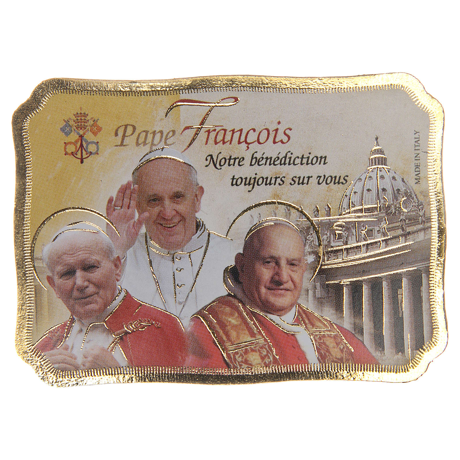 STOCK Magnet 3 Popes wooden parchment 8x5,5cm FRENCH 3