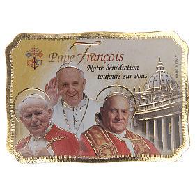 Imanes de los Santos, Virgen y Papa: STOCK Imán 3 Papas madera pergamino cm 8x5,5 FRANCÉS