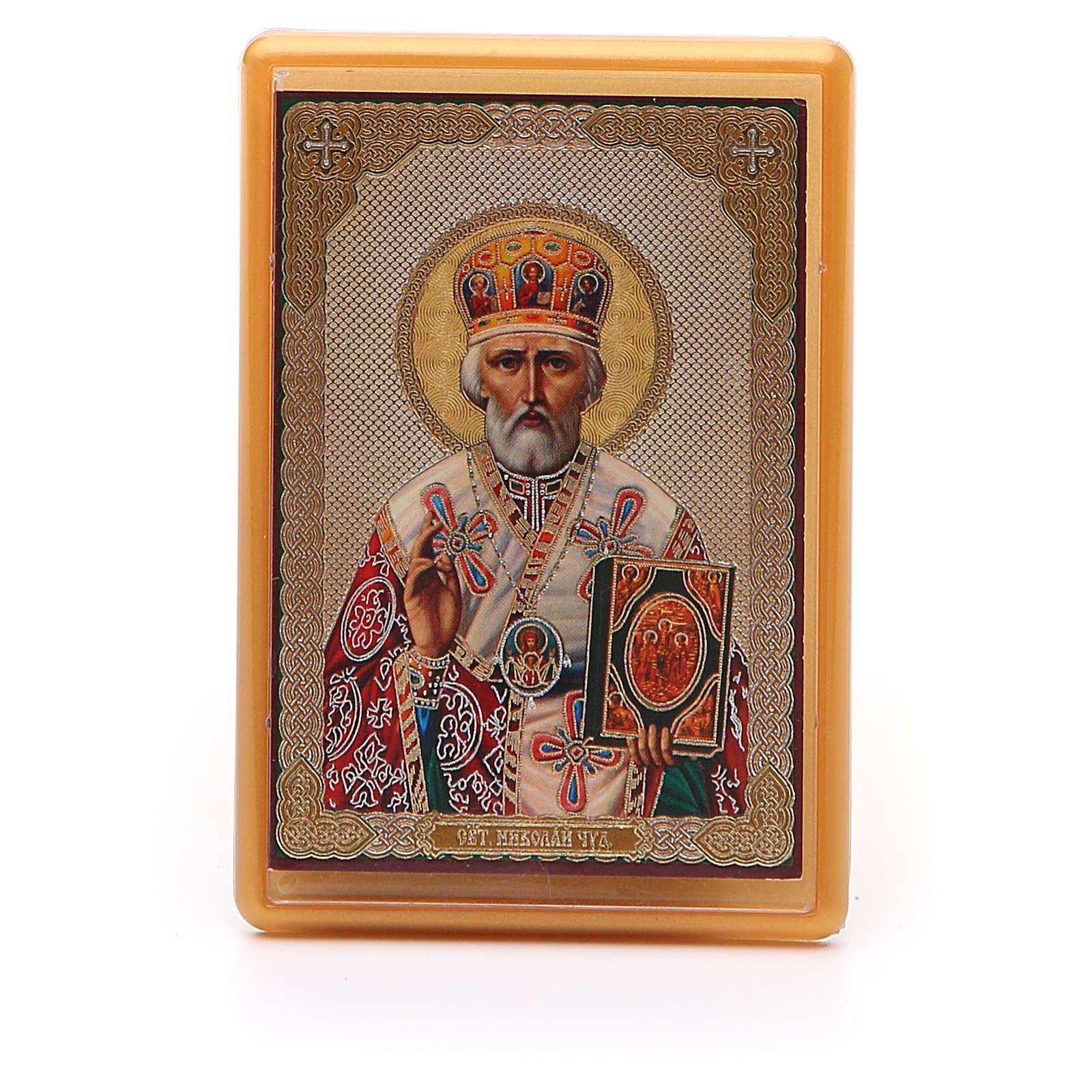 Aimant russe plexiglas Saint Nicolas 10x7 cm 3