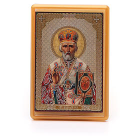 Aimant russe plexiglas Saint Nicolas 10x7 cm s1