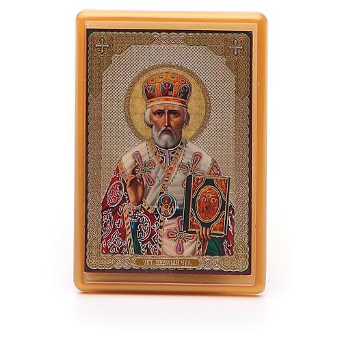 Aimant russe plexiglas Saint Nicolas 10x7 cm 1
