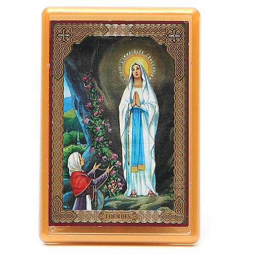 Imán plexiglás Virg. Lourdes 10x7 1