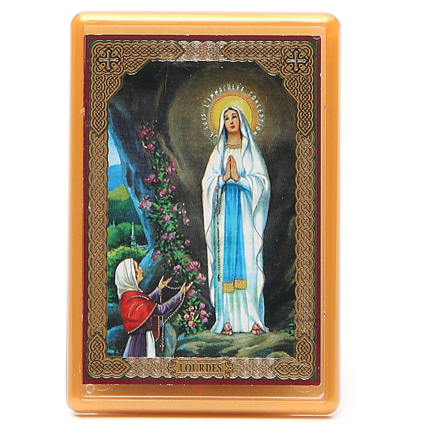 Magnet Our Lady of Lourdes in plexiglass, 10x7cm 3