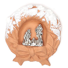 Religious Magnets: Magnet terracotta Wreath snow