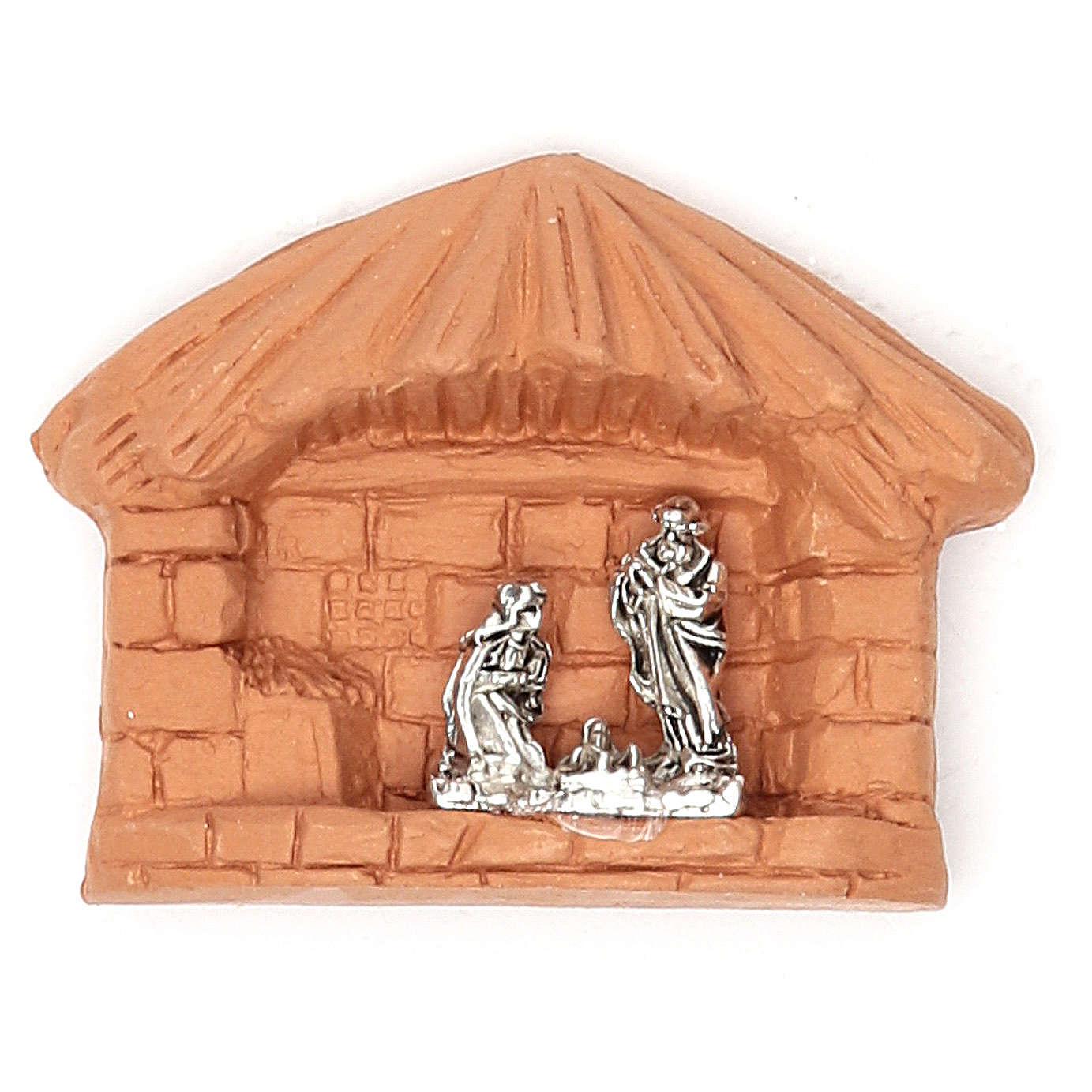 Aimant en terre cuite Nativité cabane 3