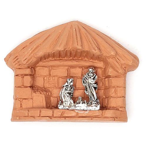 Aimant en terre cuite Nativité cabane 1