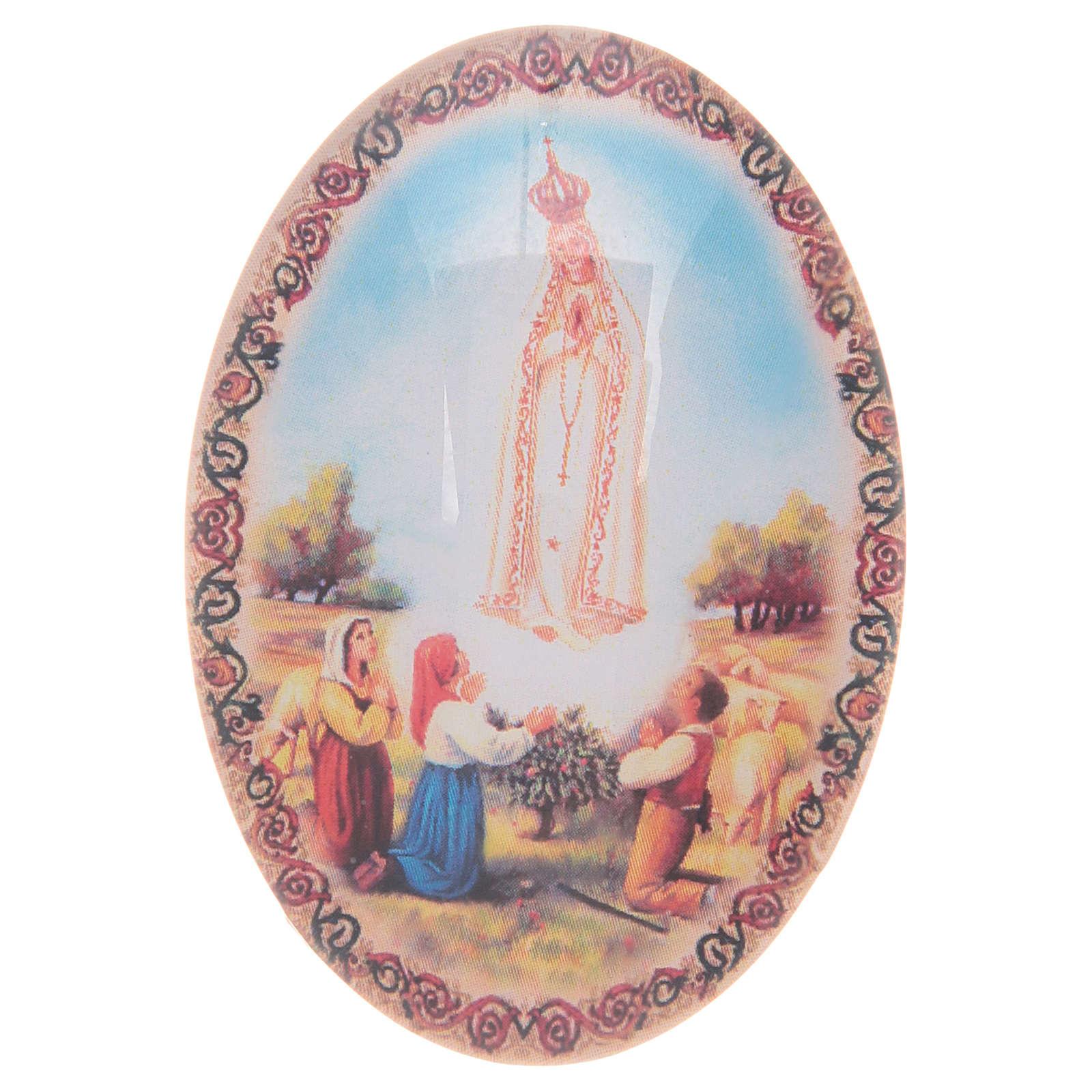 Imán de vidrio ovalado con Virgen de Fátima 3