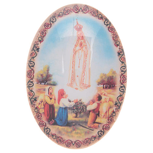 Imán de vidrio ovalado con Virgen de Fátima 1