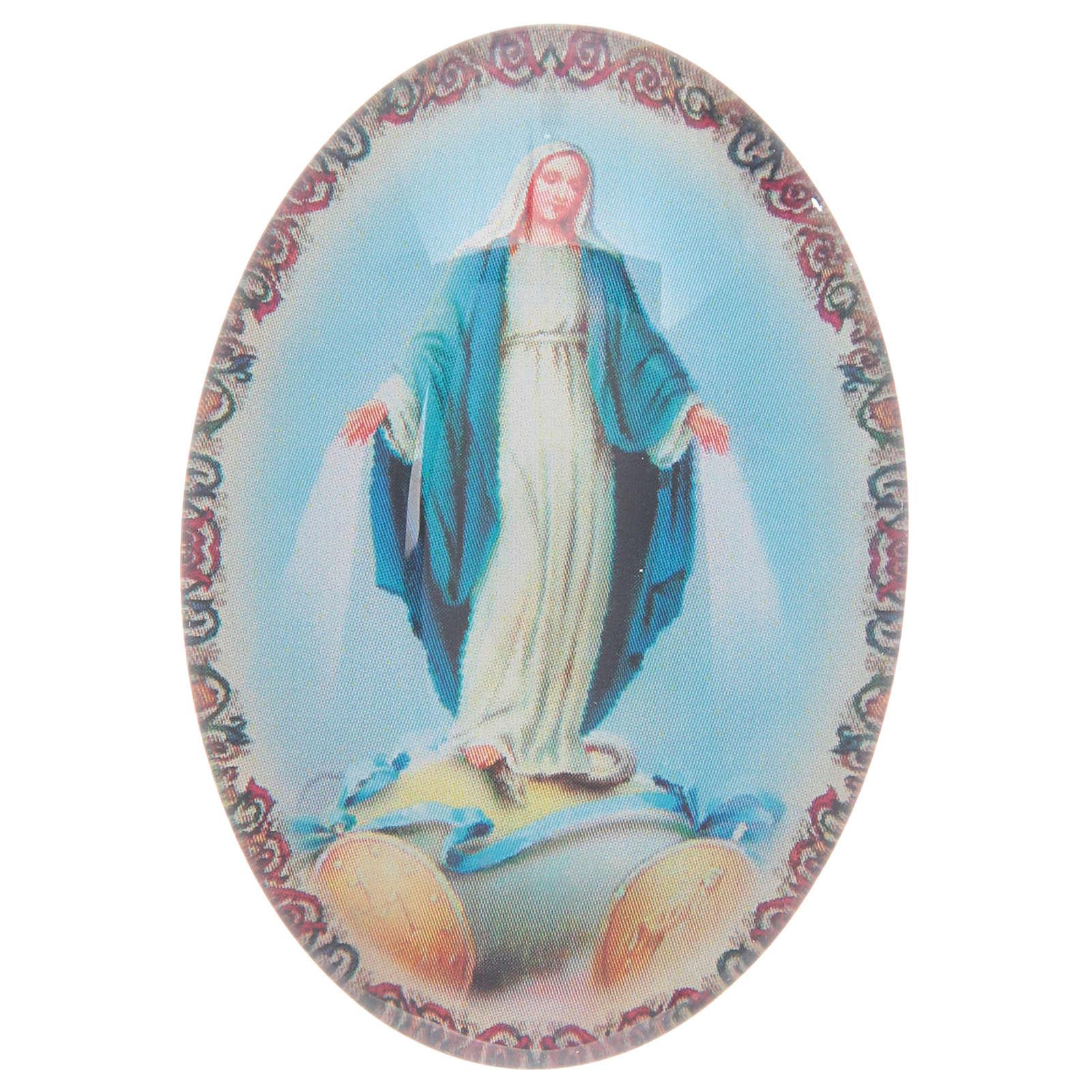 Imán de vidrio ovalado con Virgen Milagrosa 3