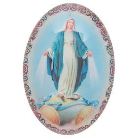 Imán de vidrio ovalado con Virgen Milagrosa s1