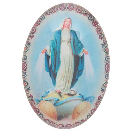 Imán de vidrio ovalado con Virgen Milagrosa 1