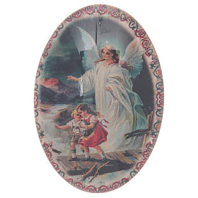 Religious Magnets: The Guardian Angel magnet oval in glass