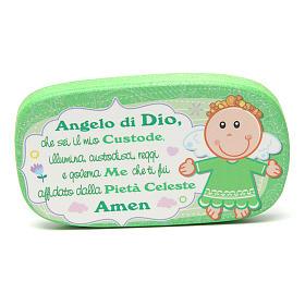 Magnete in legno Angelo di Dio Verde s1