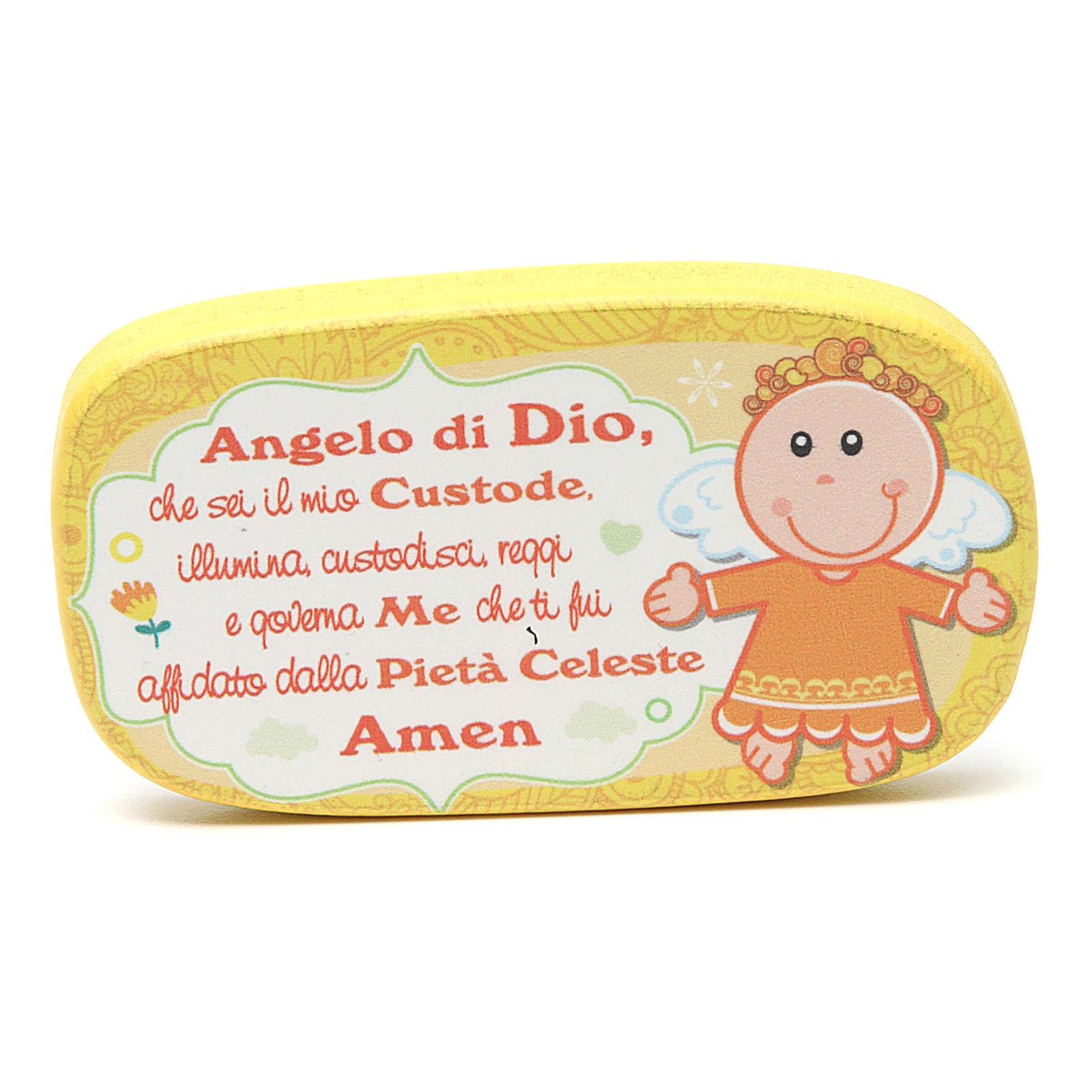 Magnete in legno Angelo di Dio Giallo 3