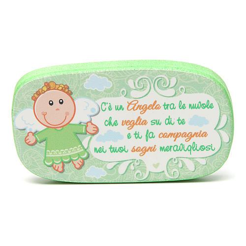 Magnete in legno Angelo Custode Verde 1