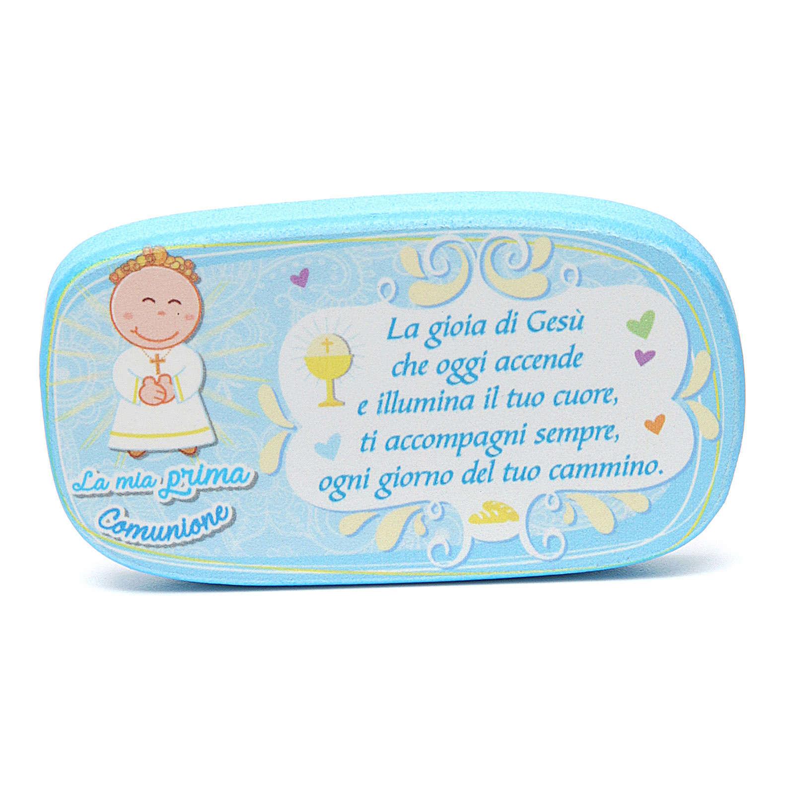 Light blue wooden magnet for Holy Communion 3