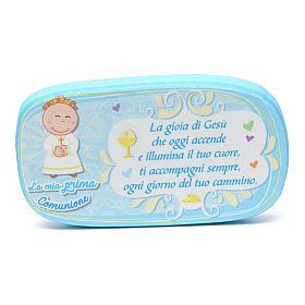 Light blue wooden magnet for Holy Communion s1