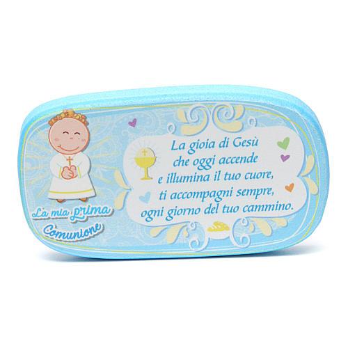 Light blue wooden magnet for Holy Communion 1