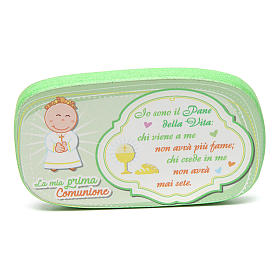 Green wooden magnet for Holy Communion s1