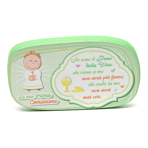 Green wooden magnet for Holy Communion 1