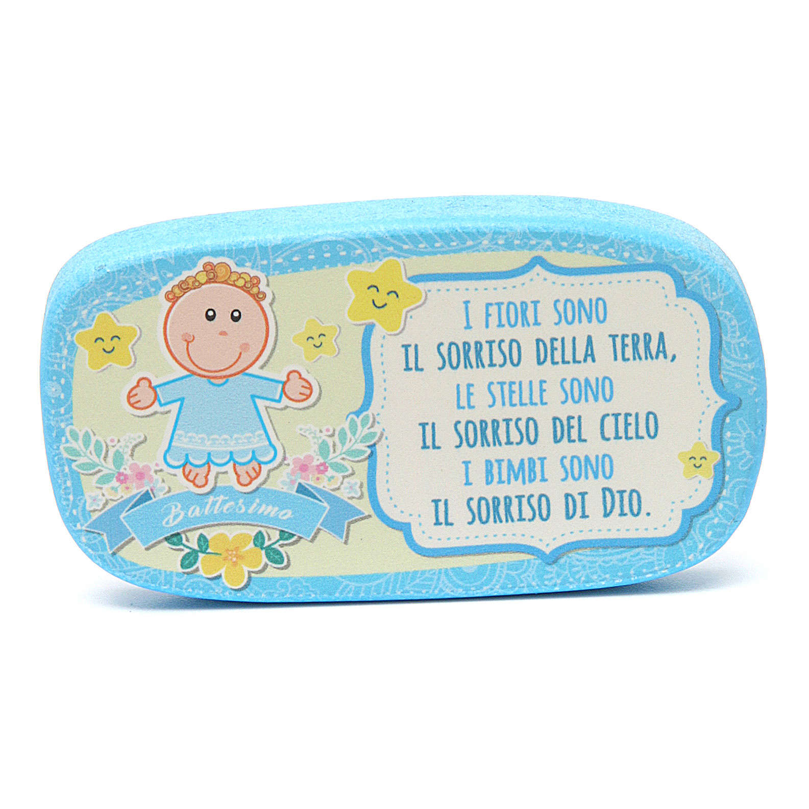Light blue wooden magnet for Baptism 3
