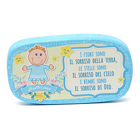 Light blue wooden magnet for Baptism s1