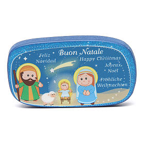 Religious Magnets: Blue wooden magnet Merry Christmas