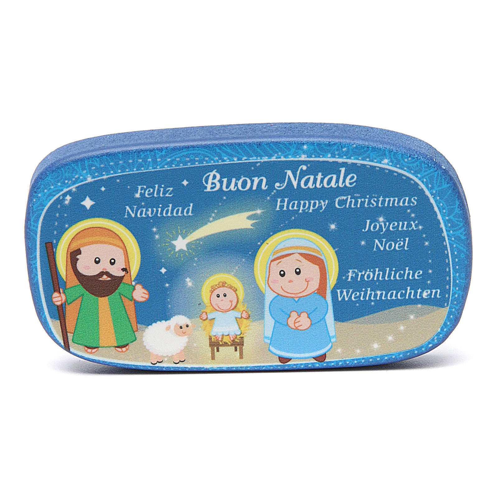 Imán de madera Feliz Navidad Azul 3