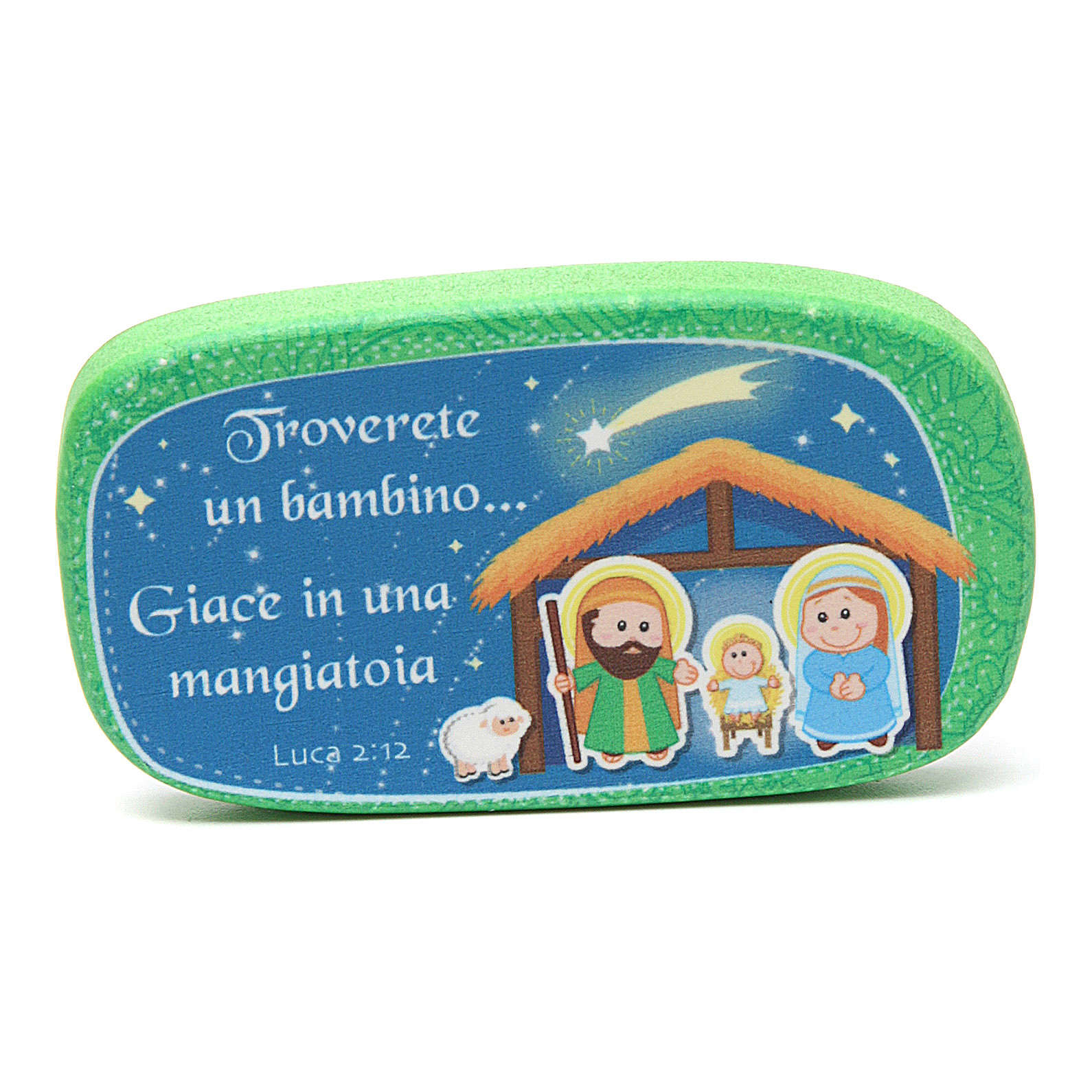 Green wooden magnet Merry Christmas 3