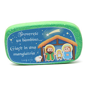 Green wooden magnet Merry Christmas s1