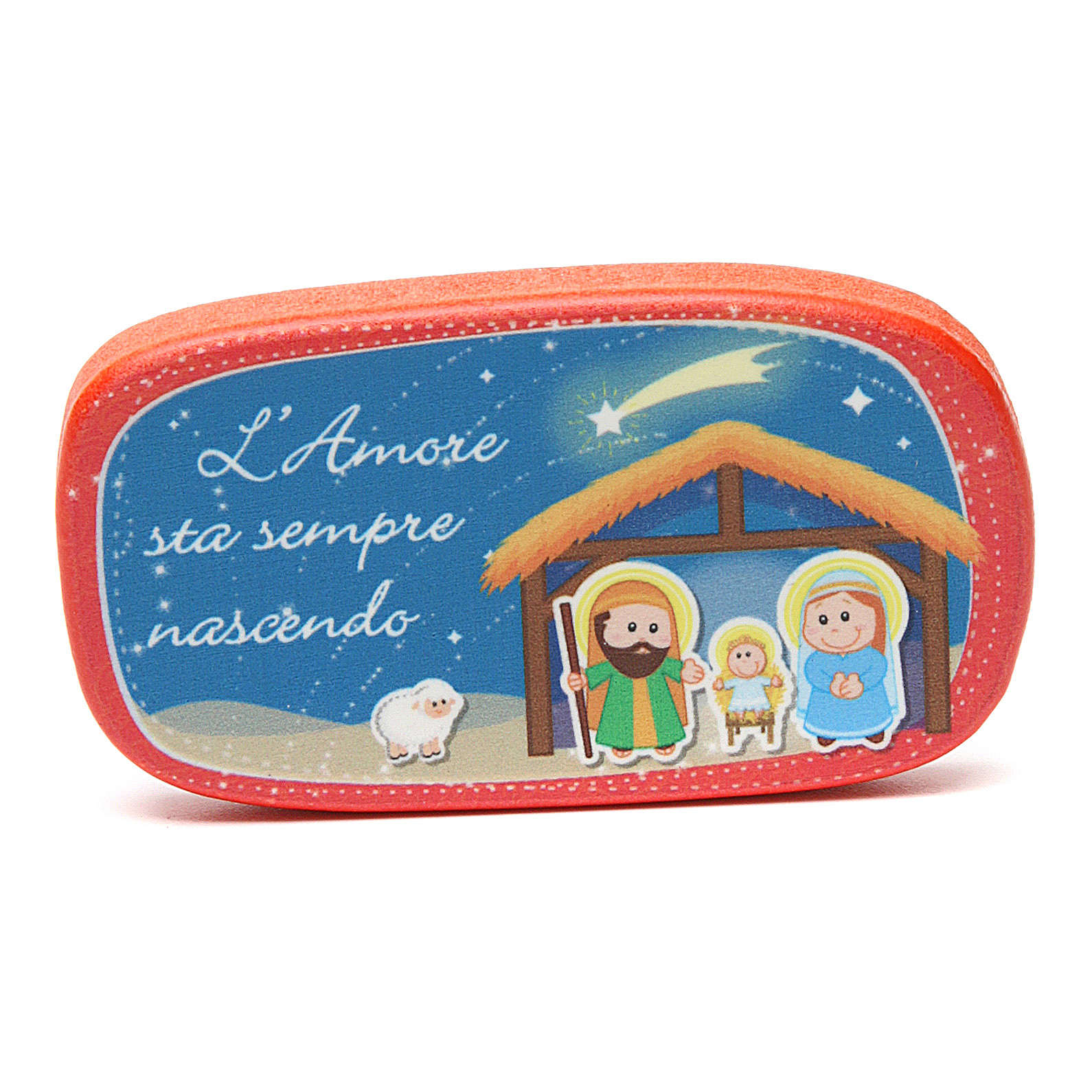 Red wooden magnet Merry Christmas 3