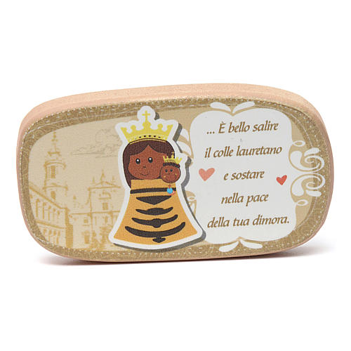 Beige wooden magnet of Our Lady of Loreto 1