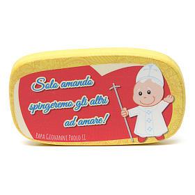 Imán de madera Papa Juan Pablo II s1