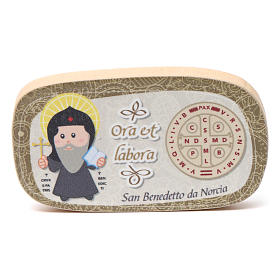 Religious Magnets: Wooden magnet of St. Benedict