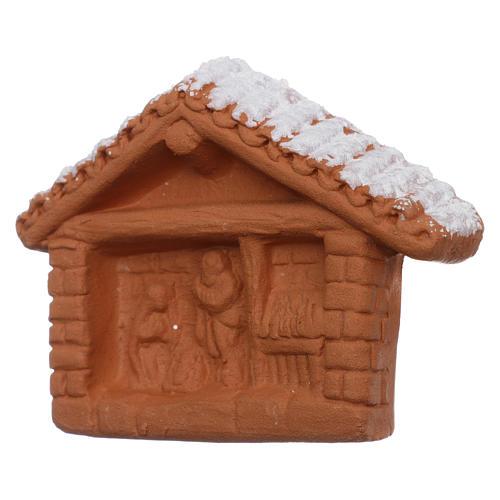 Magnete in terracotta Deruta Capannina con Natività 2