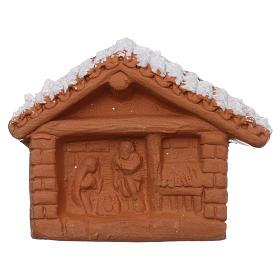 Ímanes de Santos, Nossa Senhora e Papas: Íman em terracota Deruta cabaninha com Natividade