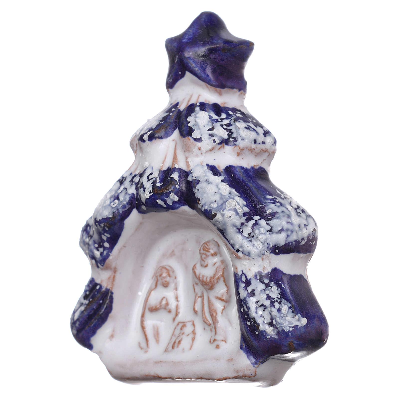 Imán árbol de navidad con Natividad de terracota Deruta 3