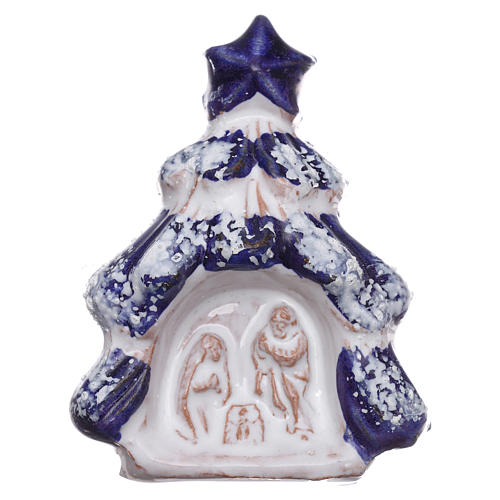 Imán árbol de navidad con Natividad de terracota Deruta 1