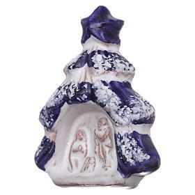 Magnete albero di natale con Natività in terracotta Deruta s2