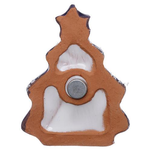 Magnete albero di natale con Natività in terracotta Deruta 3