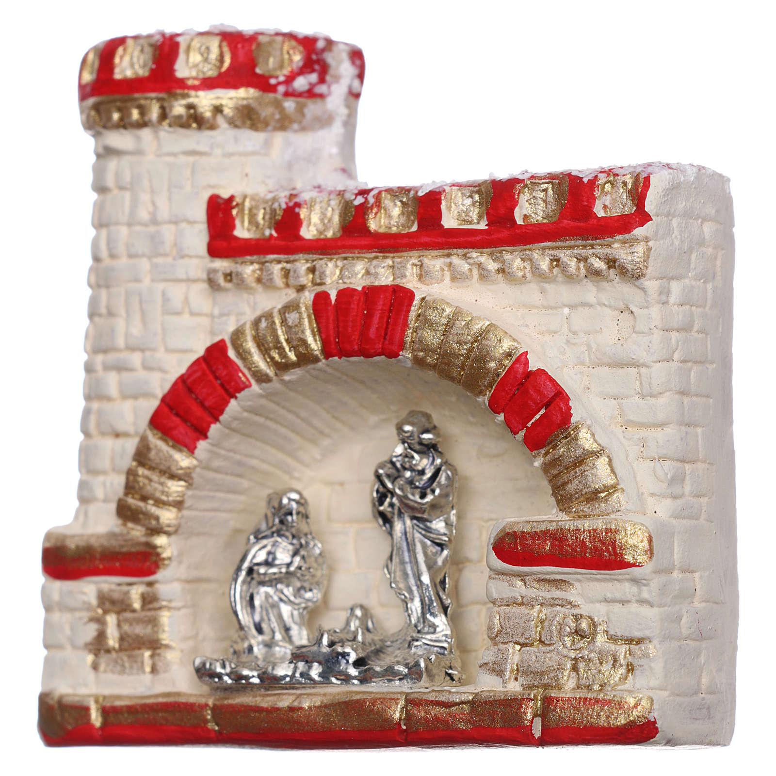 Imán castillo con Natividad de terracota Deruta 3