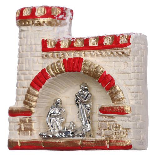 Imán castillo con Natividad de terracota Deruta 2