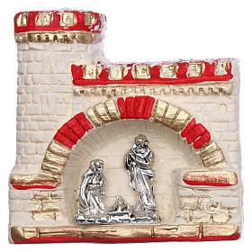 Ímanes de Santos, Nossa Senhora e Papas: Íman castelo com Natividade em terracota Deruta