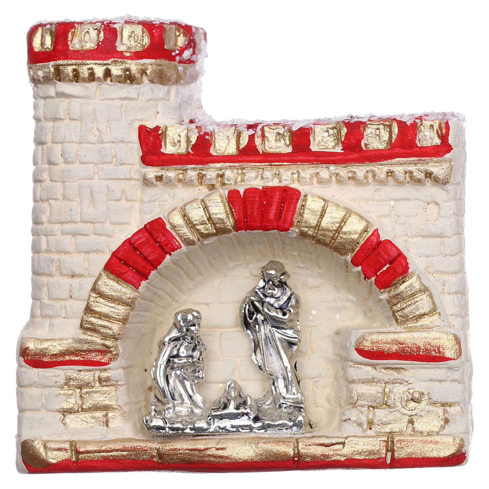 Castle with Nativity magnet of Deruta terracotta 3