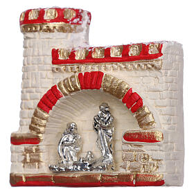 Castle with Nativity magnet of Deruta terracotta s2